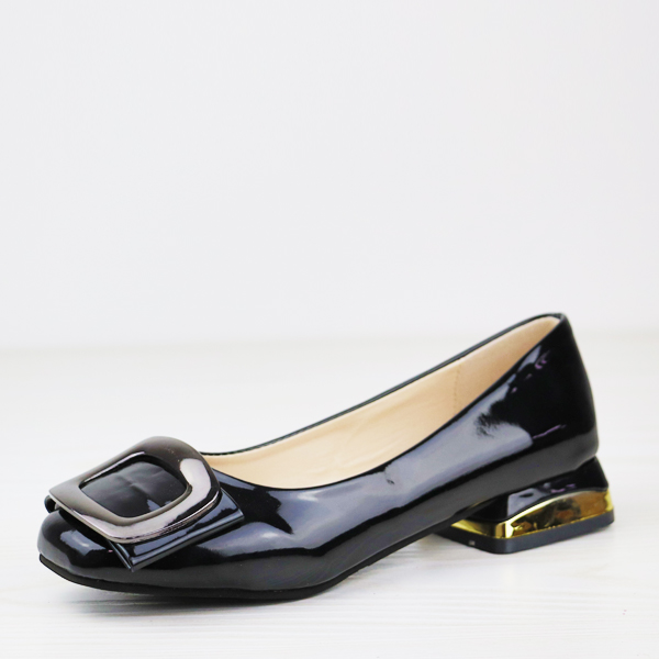 Shiny Low Square Heel Solid Color Flat Shoes - Black