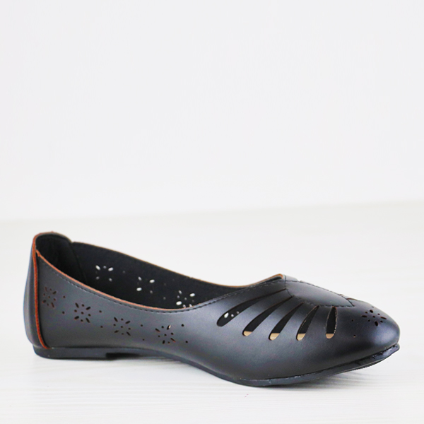 Hollow Textured Dorbe Flat Breathable Shoes - Black