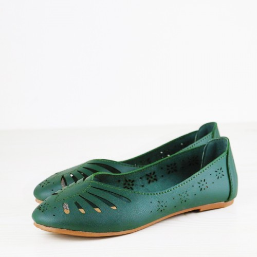 Hollow Textured Dorbe Flat Breathable Shoes - Green