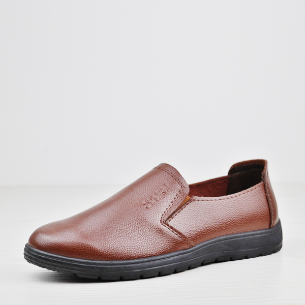 Shiny PU Leather Flat Wear Unisex Shoes - Brown