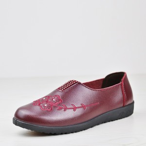 Flat Solid Color PU Leather Thread Art Shoes - Burgundy
