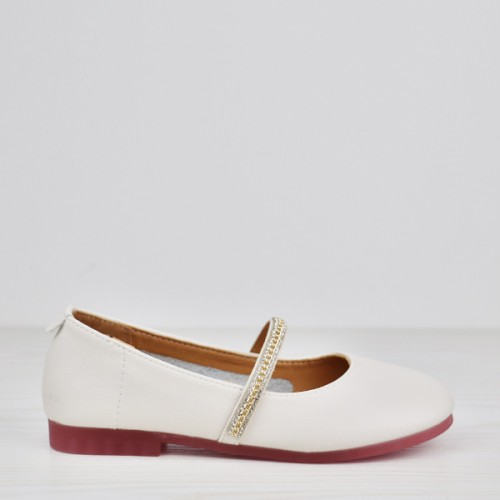Rubber Soft Sole Office Wear Crystal Shoes - White