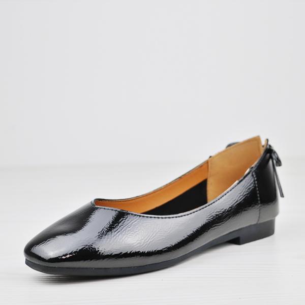 Shiny Flat Bottom Office Wear Shoes - Black