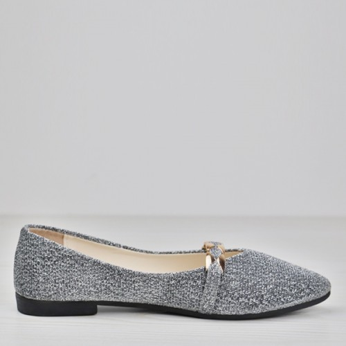 Pointed Canvas Glittered Party Wear Shoes - Silver