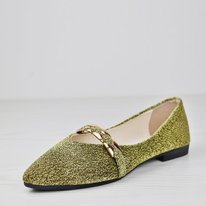 Pointed Canvas Glittered Party Wear Shoes - Golden