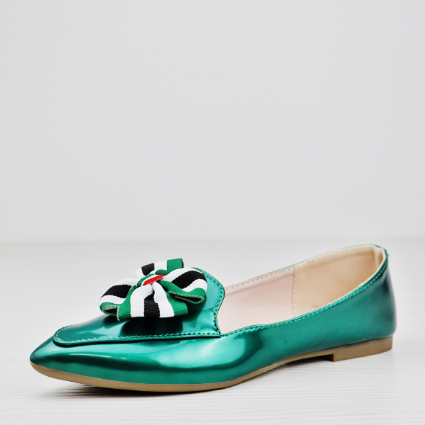 Floral Patch Stylish Glimmer Flat Party Shoes - Green