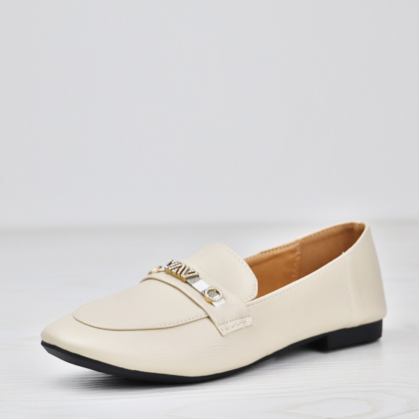 Crystal Contrast Flat Wear Soft Leather Shoes- Cream White