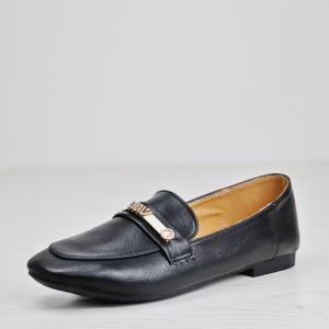 Crystal Contrast Flat Wear Soft Leather Shoes- Black