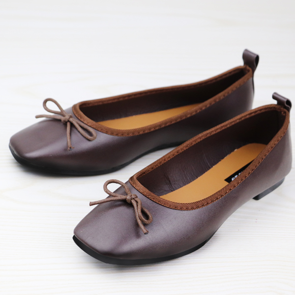 Bow Patch Flat Synthetic Leather Soft Shoes - Coffee