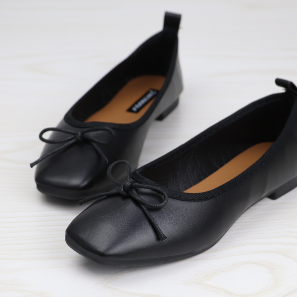 Bow Patch Flat Synthetic Leather Soft Shoes - Black