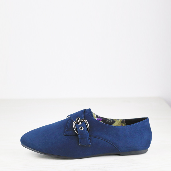 Dorbe Suede Flat Comfort Wear Buckle Shoes - Blue