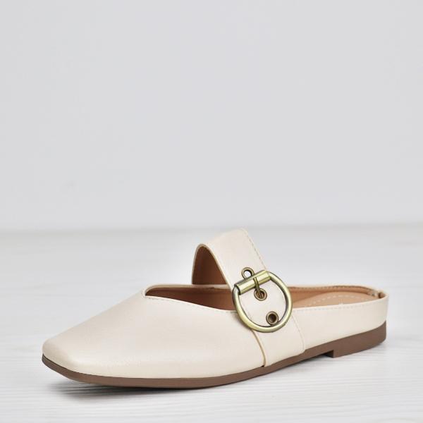Buckle Belt Soft Wear Flat Sandals - White