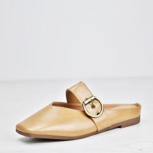 Buckle Belt Soft Wear Flat Sandals - Apricot