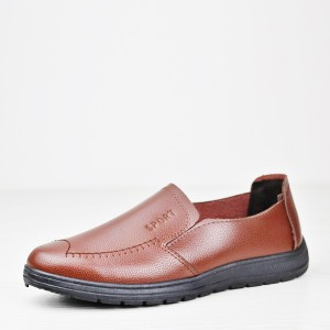 Stitched Synthetic Leather Flat Unisex Shoes - Brown