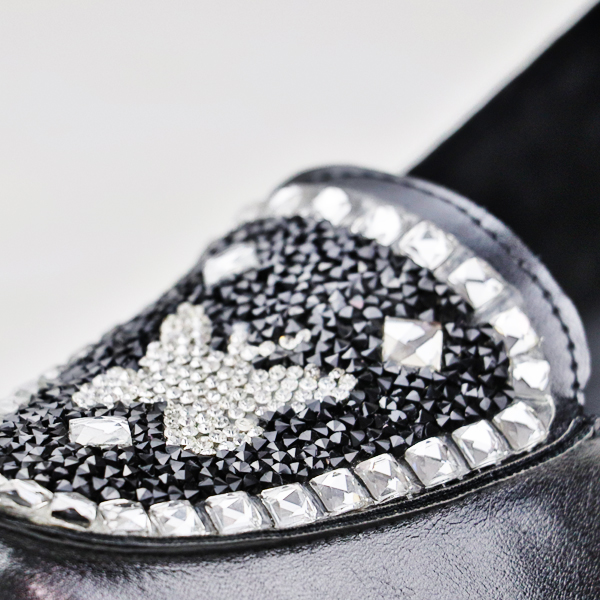 Crystal Decorated Thick Bottom Shoes - Black