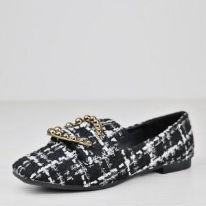 Funky Contrast Flat Wear Checks Print Shoes - Black