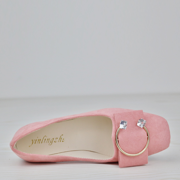 Square Crystal Suede Flat Party Wear Shoes - Pink