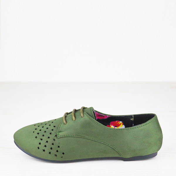 Star Hollow Dorbe Branded Suede Flat Shoes - Green