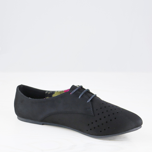 Star Hollow Dorbe Branded Suede Flat Shoes - Black