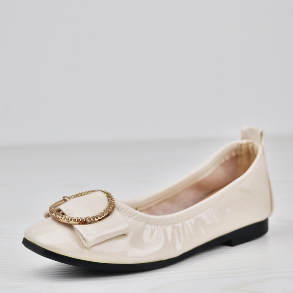 Flexible Glimmer Ring Patch Flat Shoes - White