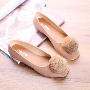Furry Ball Flat Velvet Party Shoes - Khaki
