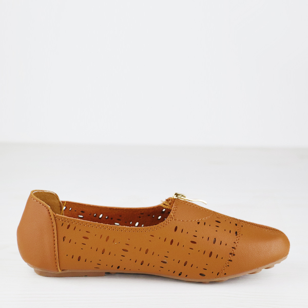 Branded Leather Zipper Dorbe Office Shoes - Brown