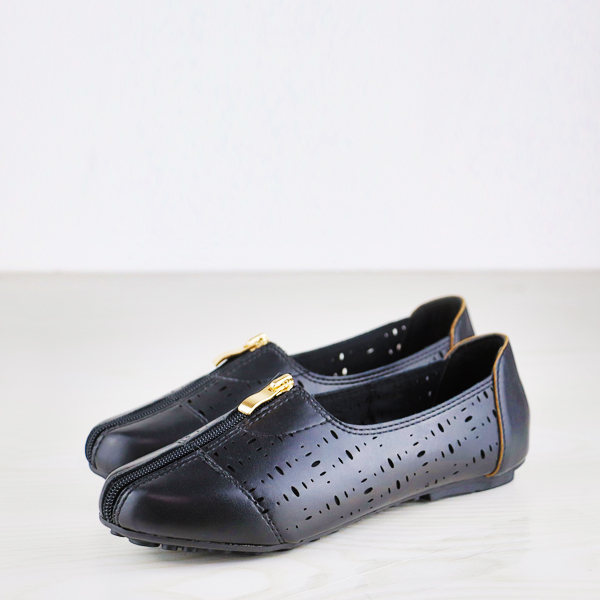 Branded Leather Zipper Dorbe Office Shoes - Black