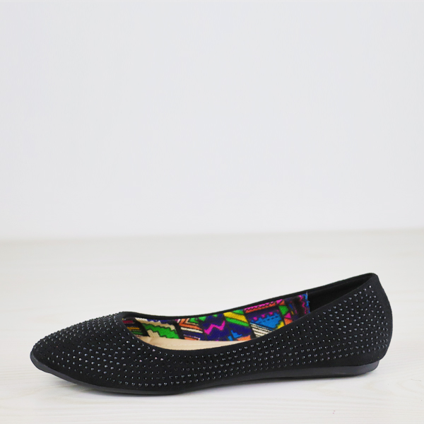 Crystalized Flat Sole Dorbe Brand Party Shoes - Black