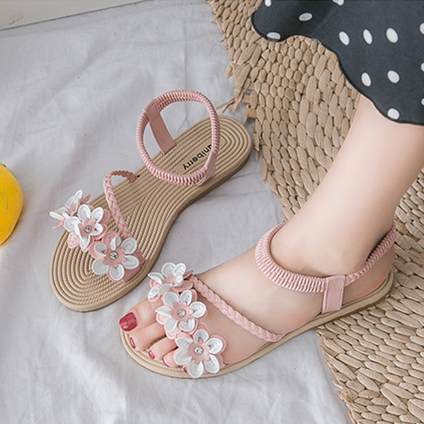 Elastic Slip Over Flower Patch Flat Sandals - Pink