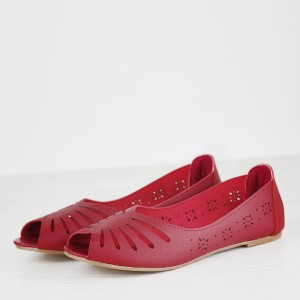 Fish Mouth Dorbe Branded Flat Shoes - Burgundy