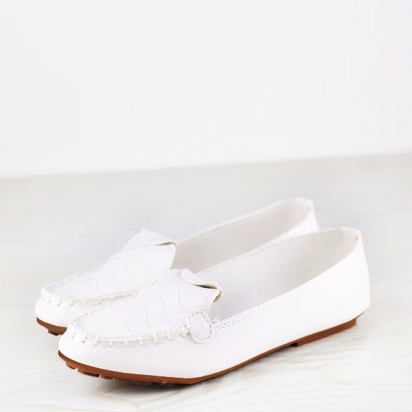 Stitched Embroidery Flat Dorbe Office Wear Shoes - White