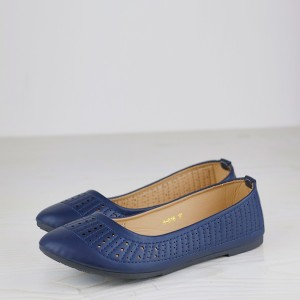 Synthetic Leather Texture Flat Dorbe Formal Shoes - Blue