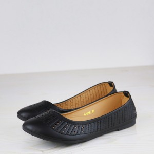 Synthetic Leather Texture Flat Dorbe Formal Shoes - Black