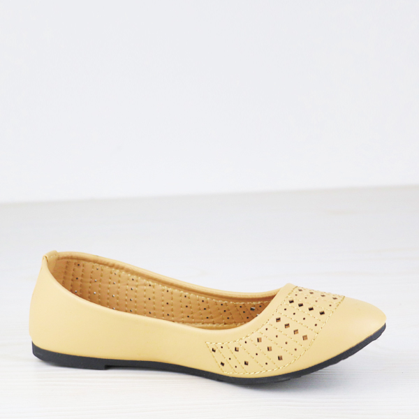 Synthetic Leather Texture Flat Dorbe Formal Shoes - Khaki