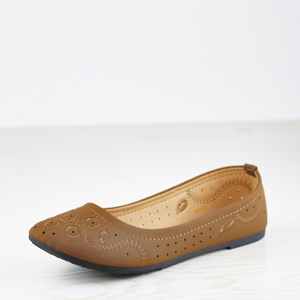 Velvet Embroidery Flat Casual Wear Dorbe Shoes - Coffee