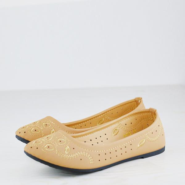Velvet Embroidery Flat Casual Wear Dorbe Shoes - Khaki