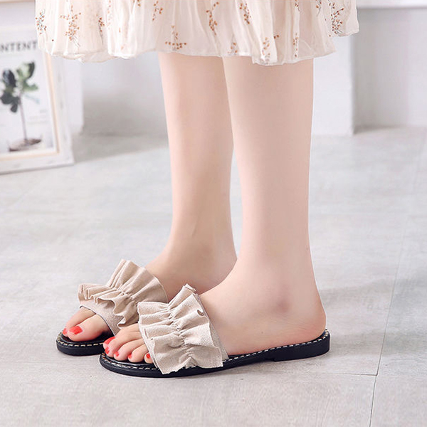 Retro Flat Wear Summer Wear Sandals - Beige