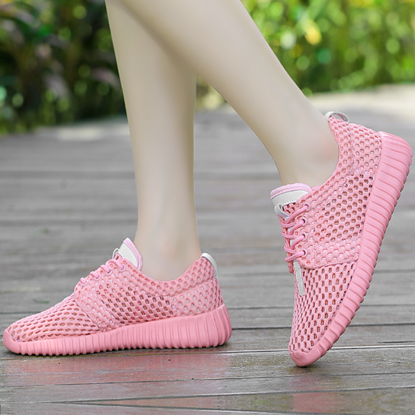 Summer Net Shoes Thick Mesh Sports Running Shoes Pink