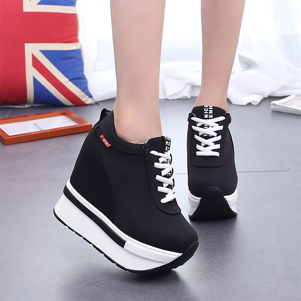 Running Canvas Thick Sponge Bottom Sports Shoes - Black