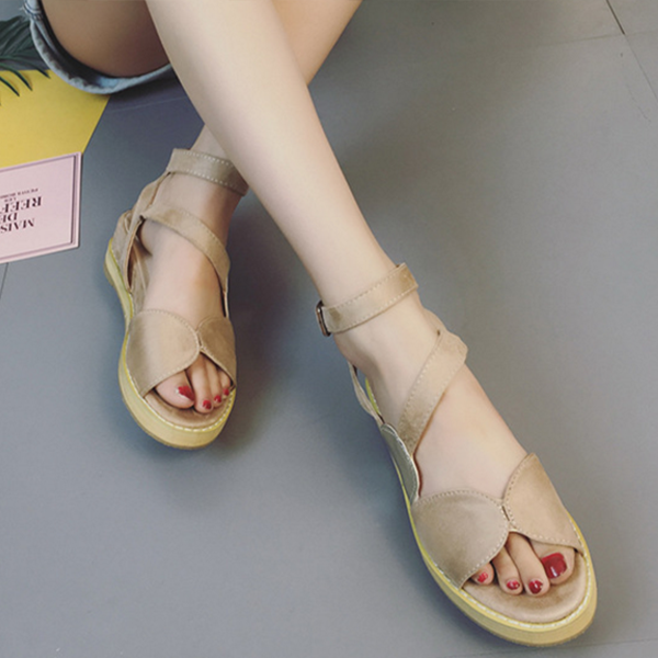 Summer Sequins Muffin Ladies Elegant Sandals Khaki