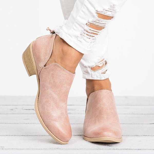 Thick Bottom Formal Wear Synthetic Leather Shoes - Pink