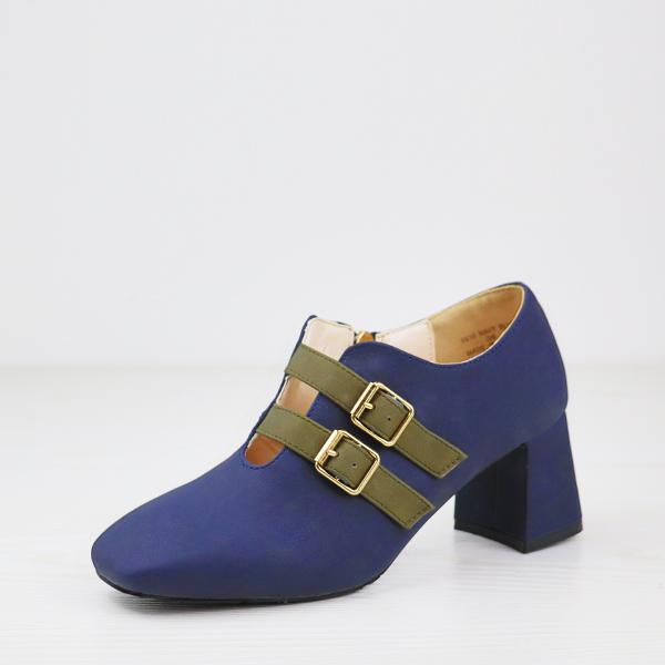 Double Buckle Belt Closure High Heel Shoes - Navy Blue