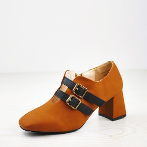 Double Buckle Belt Closure High Heel Shoes - Brown