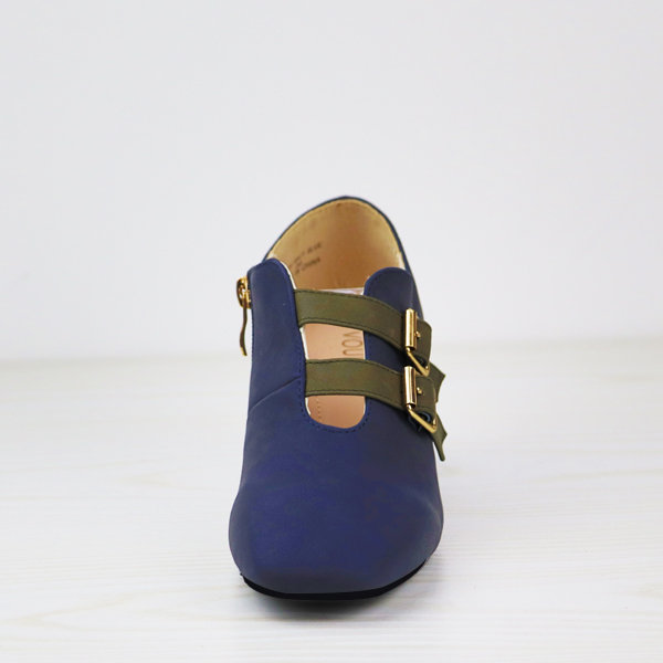 Double Buckle Belt Closure High Heel Shoes - Navy Blue