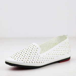 Hollow Boho Patched Flat Wear Pointed Shoes - White