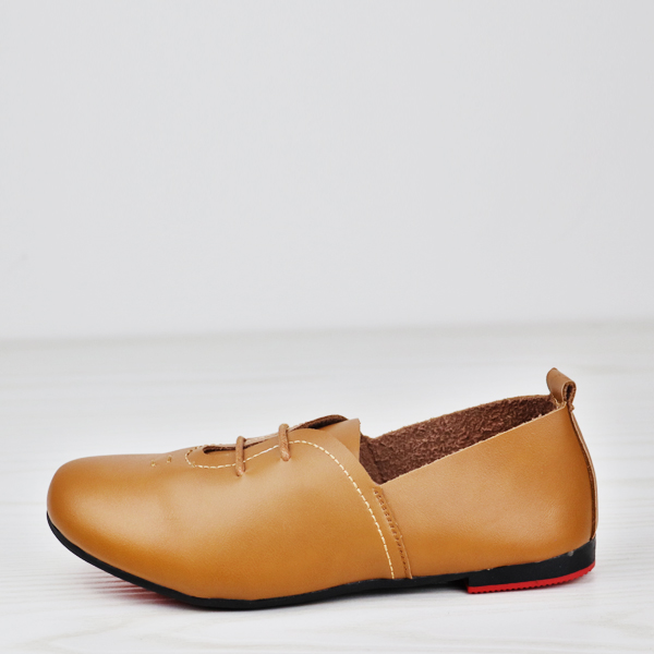 Lace Up Flat Wear Formal Shoes - Brown