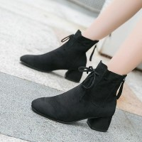 Suede Sole Synthetic Leather Lace Closure Boots - Black