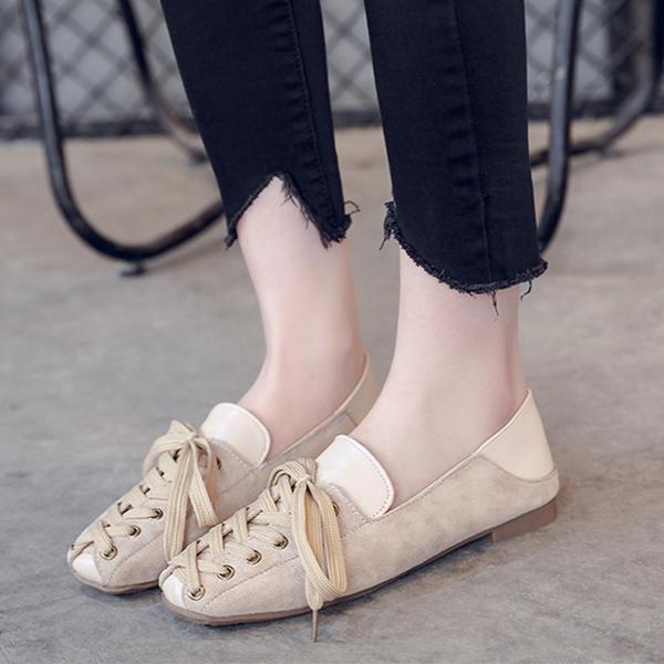 Lace Designed Knots Slip Over Casual Shoes - Khaki