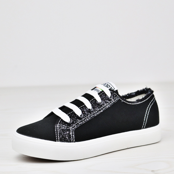 Glittered Lace Up Flat Wear Canvas Sneakers - Black