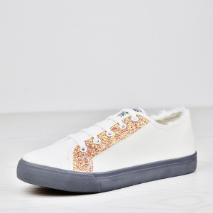 Glittered Lace Up Flat Wear Canvas Sneakers - Pink